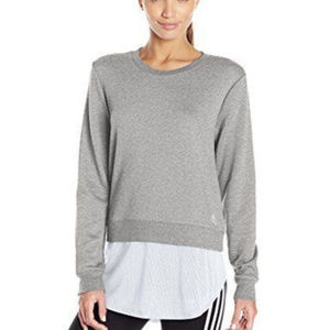 Adidas Heather Gray Layered Sweatshirt Long Sleeve